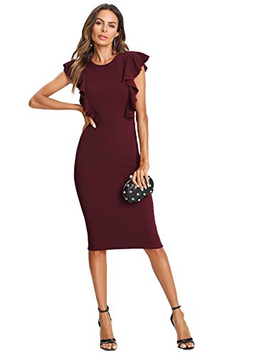 Floerns Women's Ruffle Sleeve Knee Length Business Pencil Dress Burgundy S