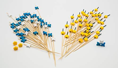 Don Palillo. 400 Palillos de cóctel. Incluye 200 Palillos Flor + 200 Palillos hélice (100 hélices Azules y 100 Blancas) de bambú 12 cm. 100% Natural, Biodegradable