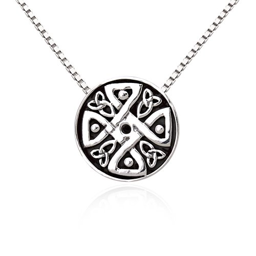 "Chuvora Oxidized Silver Alloy Celtic Knot Round Pendant Necklace 18"""