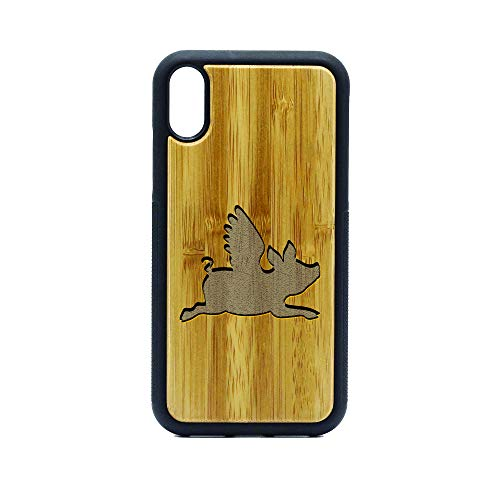 Flying Pig Silhouette - iPhone Xr Case - Bamboo Premium Slim & Lightweight Traveler Wooden Protective Phone Case – Unique, Stylish & Eco-Friendly - Designed for iPhone Xr