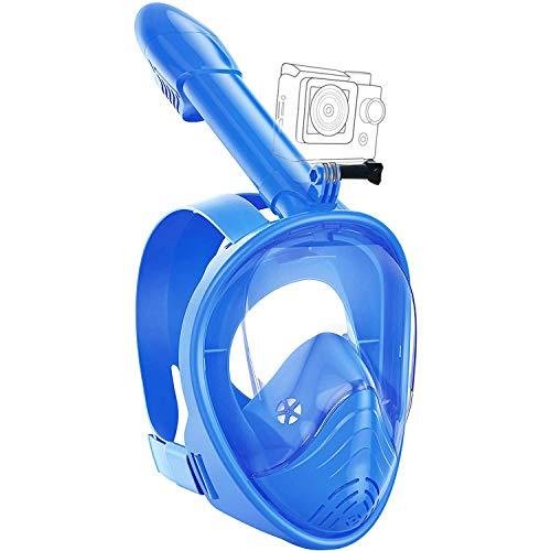 Lypumso Schnorchelmaske Vollmaske, Tauchmaske Vollgesichtsmaske mit 180° Sichtfeld und Kamerahaltung, Anti-Fog Anti-Leck Schnorcheln Sichere Gute Abdichtung für Kinder und Erwachsene (Blau)