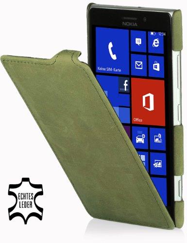 StilGut UltraSlim Case, Custodia in Vera Pelle per Nokia Lumia 925, Verde Old Style