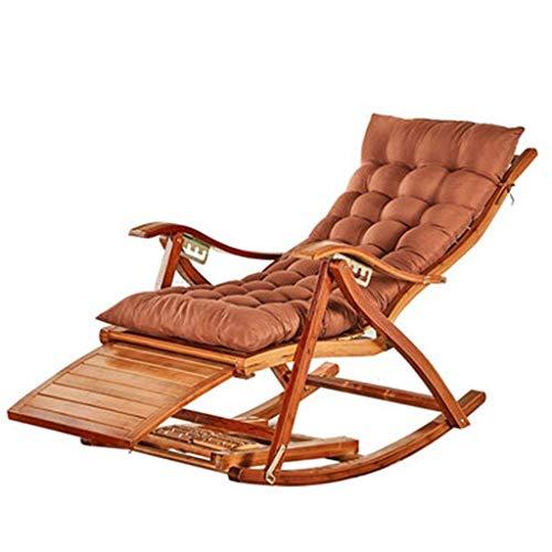 WYJW Sommer Bamboo Chair Klappliege Schaukelstuhl Lazy Chair Liegestuhl Senioren Balkonstuhl Schaukelstuhl Korbstuhl (Farbe: Stuhl + Matte a)