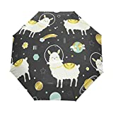 3 Folds Parapluie Lamas and Planets Auto Open Close Anti-UV Parapluie