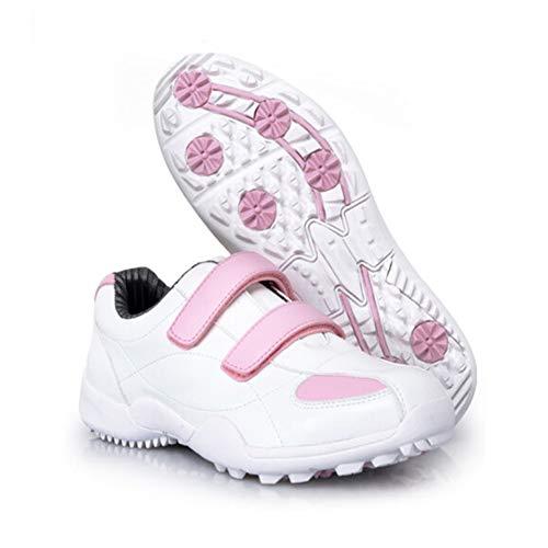 CGBF-Im Freien Golf Shoes Kinder Golfschuh Outdoor Wasserdichten Lace-Up Spikeless Sneaker Leder-Beiläufigen Walking Schuh,Rosa,36 EUR/4.5 UK/5.5 USA