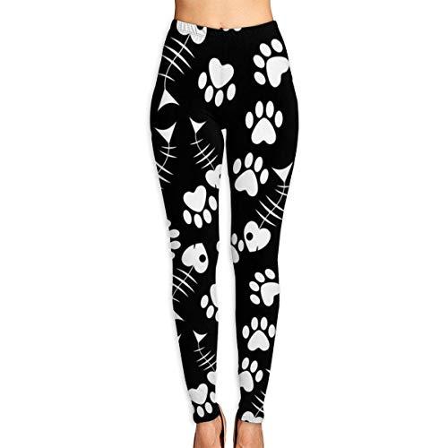 AAAshorts Pantalones de yoga con estampado de pata de gato y hueso de pescado para mujer, cintura alta, leggings de entrenamiento