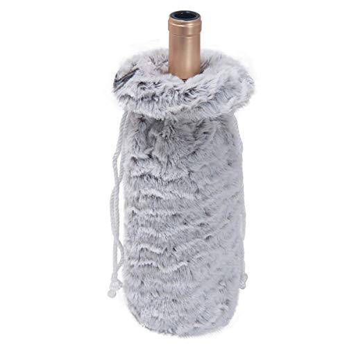 BARUCHT Bolsas de cubierta de botella de vino de Navidad de piel sintética bolsa de cubierta de botella de Navidad con cordón bolsa de regalo de vino para Navidad decoración de mesa del hogar