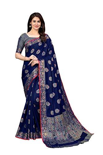 Amazon Brand – Anarva Women's Kanchipuram Silk Blend Saree With blouse piece