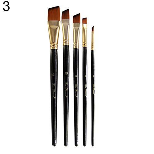 dljztrade 5 stuks schilderpenseel kant vlak ronde bovenkant kunstenaar acryl aquarelolie nylon haar tekenstift 3#