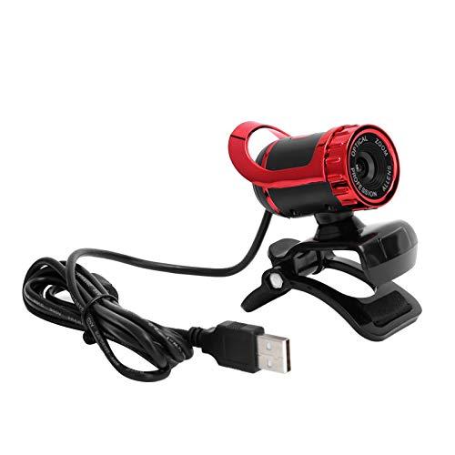 PUSOKEI Cámara Web HD 1080P, cámara Digital 1080P, cámara Web giratoria de 360 Grados, Enfoque Manual, micrófono Incorporado, para Windows/Android/TV(Rojo)