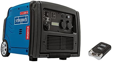 Scheppach Inverter Stromerzeuger SG3400i (4-TaktBenzinmotor, Elektrostart per Fernbedienung, Handgriff + Fahrvorrichtung) 3400 W Abgabeleistung