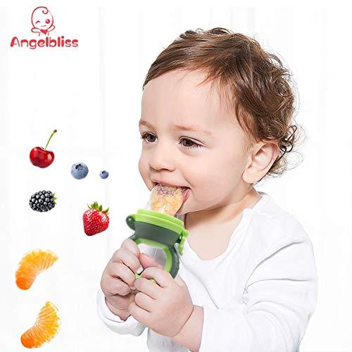 ANGELBLISS Fruchtsauger Baby/Schnuller, Schätzchen Schnuller Gemüse sauger für 3-24 Monate, 6 Silikonbeutel Beißspielzeug,BPA-frei(2 Stück) - 6
