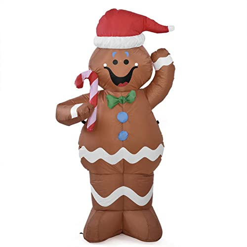 Decorazione gonfiabile del bastone della caramella della tenuta dell'uomo di neve del pan di zenzero di Natale Decorazione gonfiabile all'aperto di inverno Ornamento