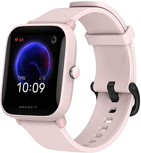 Amazfit Bip U Smartwatch Fitness Reloj Inteligente 60+ Modos Deportivos 1.43' Pantalla táctil a Color Grande 5 ATM GPS Incorporado (SpO2) Oxígeno en Sangre Frecuencia cardíaca-Rosado