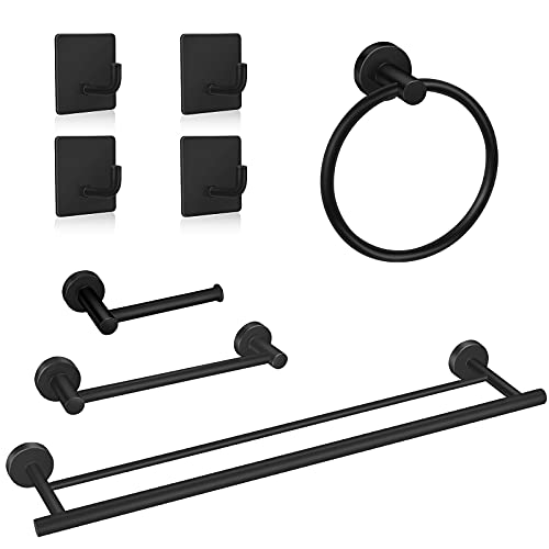 EAONE 24-Inch Double Towel Bar, 12Inch Towel Holder, Towel Ring, Toilet Paper Holder, 4 Robe Hooks Bathroom Hardware Set SUS304 Stainless Steel Accessories Set Wall Mounted-Matte Black …