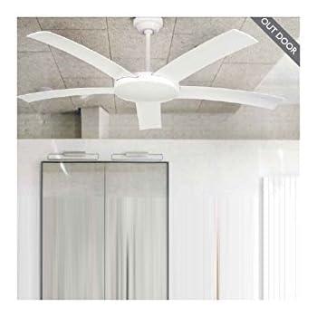 Ventilador de techo para exterior IP44 Blanco - 5 Palas Blancas ...