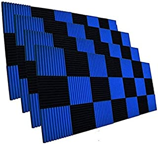 "52 Pack 1"" x 12"" x 12"" Black/BLUE Acoustic Wedge Studio Foam Sound Absorption Wall Panels (BLACK/BLUE)"