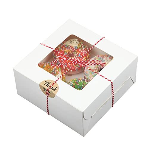 EZOLY 15 Juegos Caja para cupcakes con cuerda y ventana y 4 soportes insertados, cajas para galletas de 16 x 16 x 7,5 cm con pegatinas para pasteles, galletas, tartas pequeñas, tartas, cupcakes