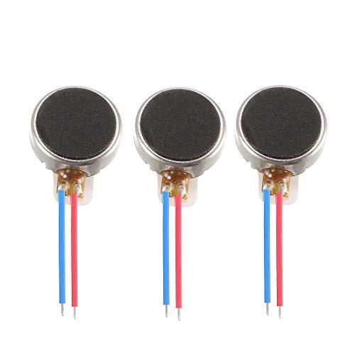 sourcing map Micro Motor vibratorio DC de Tipo de botón plano DC 3V 8mm x 2.6mm para teléfono celular 3 unidades