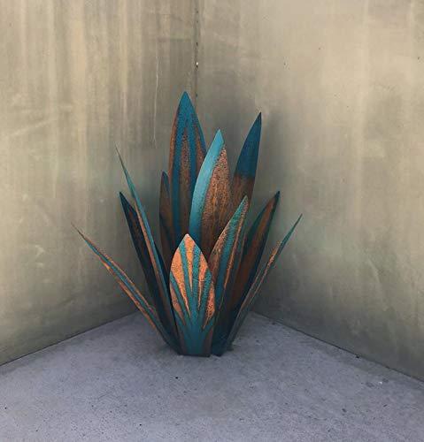 Figura de jardín con estatua de Tequila, escultura rústica de metal, decoración de interiores, decoración de jardín, estacas de patio, césped, plantas de ágata de metal (2 Suite, azul marino)