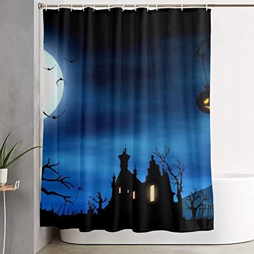Nongmei Cortina de Ducha, Linterna de Calabaza de Halloween Casa de Terror, Cortina de baño Cortina de baño Lavable Tela de poliéster con 12 Ganchos de plástico 180x180cm