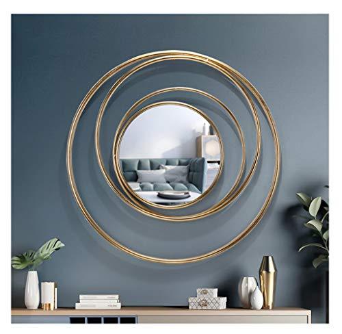 CJY-mirror Espejo de Pared Moderno Planet Round Iron Art Creative 3D Stereo Shape, Espejo Colgante de Moda, Espejos de Pared forja a Mano, Entrada Decorativa de decoración del hogar montable