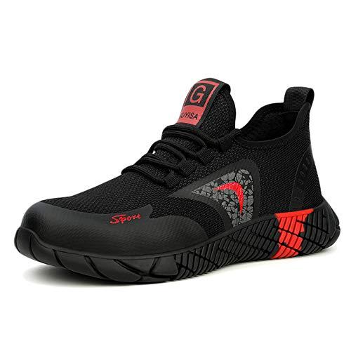 Koyike Gorra de Acero Unisex Zapatos Deportivos Zapatos de Trabajo antichoque Resistentes a Las Perforaciones Botas Militares Transpirables,Red-39