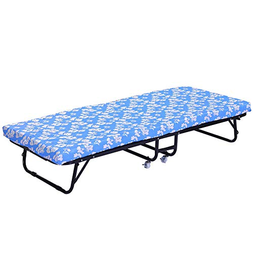 MUY Best Single Folding Bed 96 X 190 cm Foldable Guest Bed Travel Bed with Foam Core Mattress and Steel Frame,1907636cm