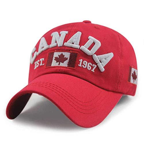 Baseball Kappe Hut Cap Neuheiten Cotton Gorras Kanada Baseball Cap Flagge Von Kanada Hut Snapback Adjuatable Herren Baseball Caps Erwachsene 54-62Cm Rot