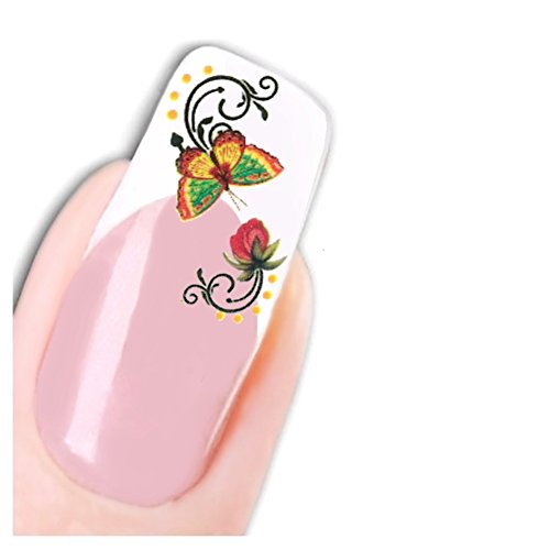 Just Fox – Papillon Tatouage Stickers pour ongles Butterfly ongles autocollants nail art Flower