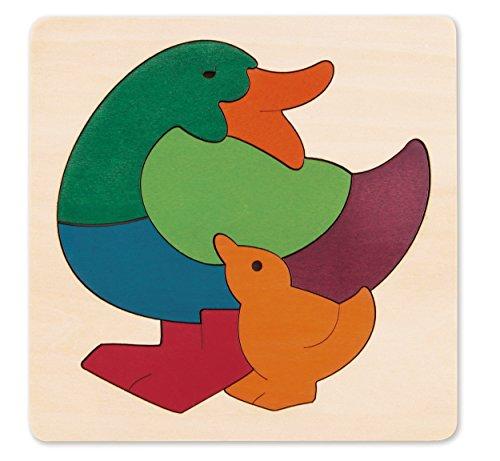 Hape - E6501 - George Luck - Puzzle - Canard et Bébé - Arc-en-Ciel - 8 pièces