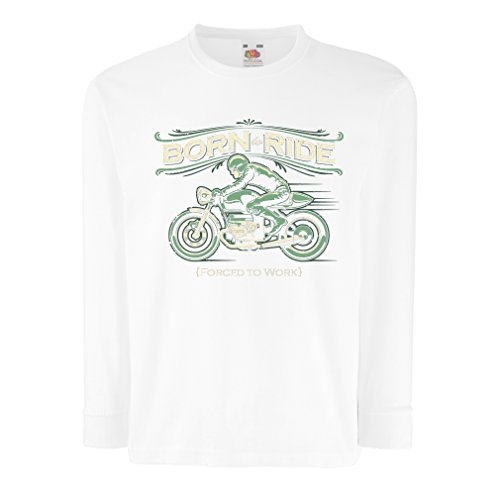 T-Shirt for Kids Born to Ride, Forced to Work - Saying Shirts for Motorcyclists, Biker, Rider (5-6 Years White Multi Color)
