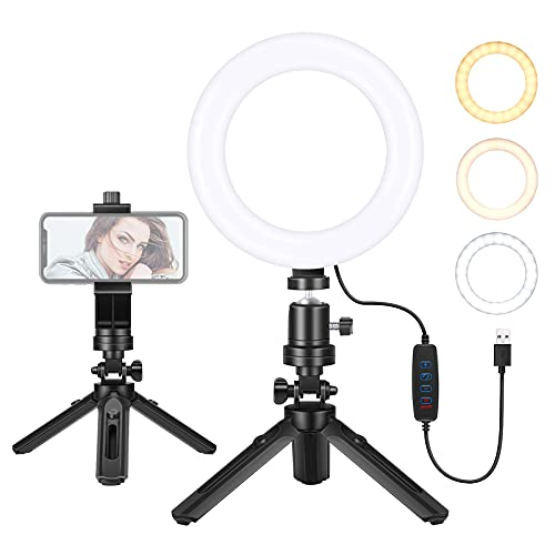 Neewer Anillo de Luz para Selfies de 6 Pulgadas con Soporte para Trípode y Soporte para Teléfono, Iluminación Regulable Videoconferencia, 3 Modos de Luz para Llamada de Zoom Video Youtube Maquillaje