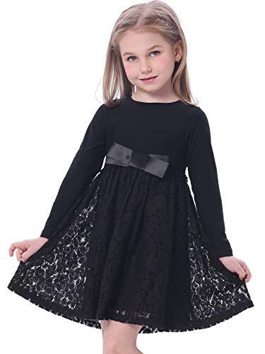 BONNY BILLY Mädchen Kleider Winter Langarm Baumwolle Spitzenkleid Freizeitkleid mit Schleife 3-4 Jahre/98-104 Schwarz