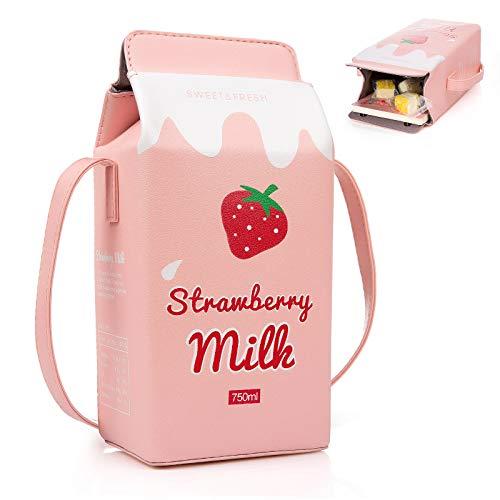 XiYee Mini Bolso de Hombro Bolsa, 1 Pcs Niñas Frutas Plátano Fresa Leche Caja Cruzado Cuerpo Bolso, Mujer Teléfono Cartera Mini Bolsos de Hombro Rosado (fresa)