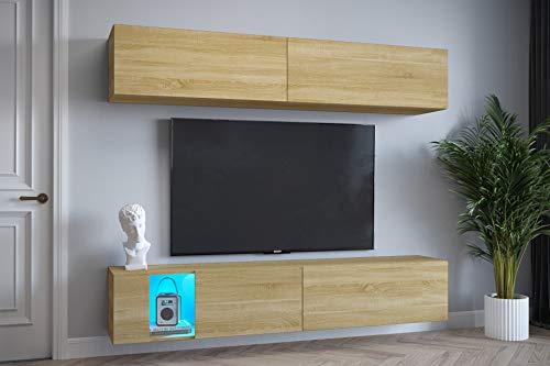 Furnitech Exklusiv E6 Wohnzimmer Wohnwand Schrankwand Mediawand mit Led Beleuchtung Wandschrank Möbel (EX6-20D-M1, LED blau)