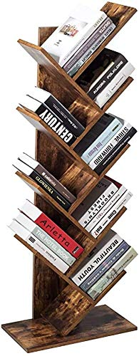 Tree Bookshelf, Wood Bookcase Rack 9-Tier Book Rack, Free Standing Book Storage Organizer Shelves, Books/CDs/Albums/Files Holder, Display Storage Rack Space Saver for Living Room, Home Office, Brown