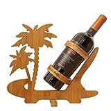 BAMBOO CRAFTS Portabotellas estable y plegable de madera de bambú, diseño de...