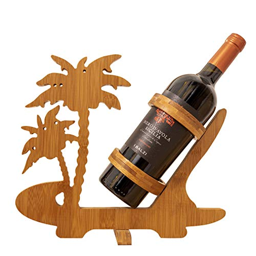 BAMBOO CRAFTS Portabotellas estable y plegable de madera de bambú, diseño de palmeras, apto para cualquier botella de vino, ideal para rebajar la botella y alegrar el salón y la cocina.