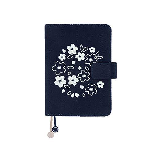 Office Diary Notizbuch Blossom Book Shine Kalender Zeitplan Buch Tuch Stickerei Hand Account Notizbuch A6 Handbuch 128 Blatt Notizbücher Schreiben (Farbe: B, Größe: 12,8 x 16,5 cm)