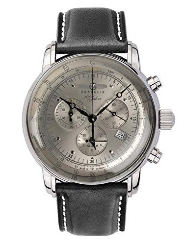 Zeppelin Zeppelin 8680-0 - Reloj de pulsera para hombre con correa de piel, cronógrafo, fecha y alarma