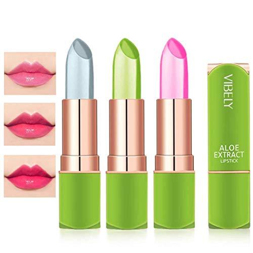3 Pack Aloe Vera Lipstick, Btspring Long Lasting Nutritious Lip Balm Lips Moisturizer Magic Temperature Color Change Lip Plumper Set(A)
