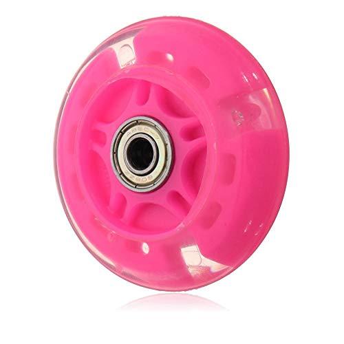 Olddreaming-- Rueda de flash LED ligera de 80 mm para scooter, luces intermitentes traseras Abec-7, inclinada a dirigir para niños y niñas cumpleaños (rosa)