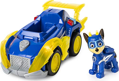 PAW Patrol Mighty Pups Super Paws Polizeiwagen mit Chase-Figur (Basic Themed Vehicle)