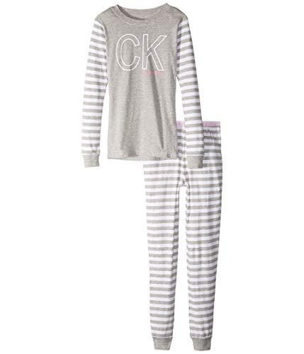 Calvin Klein Conjunto de Dos Piezas de Camiseta de Manga Larga con Pantalones Largos, Ajustado (niños pequeños y Grandes)
