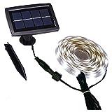 Tira de luces LED solares impermeables para exteriores, encendido/apagado automático