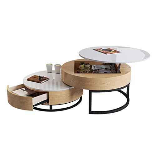N/Z Tägliche Ausrüstung Runde Schachteltische Couchtisch Aufzug Tischplatte Holz Home Wohnzimmer Moderne Lagerung Versteckte hochwertige Möbel 70 cm / 80 cm