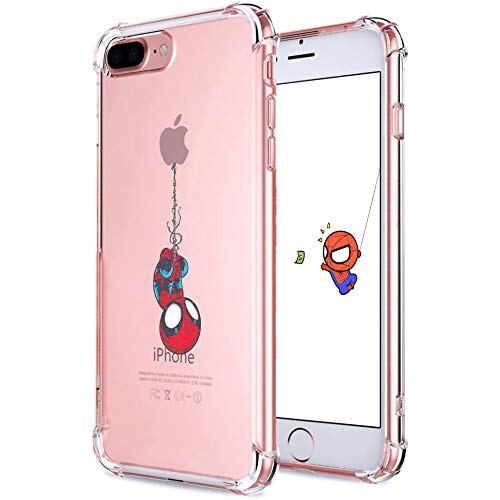 """Logee TPU Spider Funny Cute Cartoon Clear Case for iPhone 8 Plus/7 Plus 5.5"""",Fun Kawaii Animal Soft Protective Cover,Ultra-Thin Shockproof Creative Character Cases for Kids Teens Girls Boys(8Plus)"""