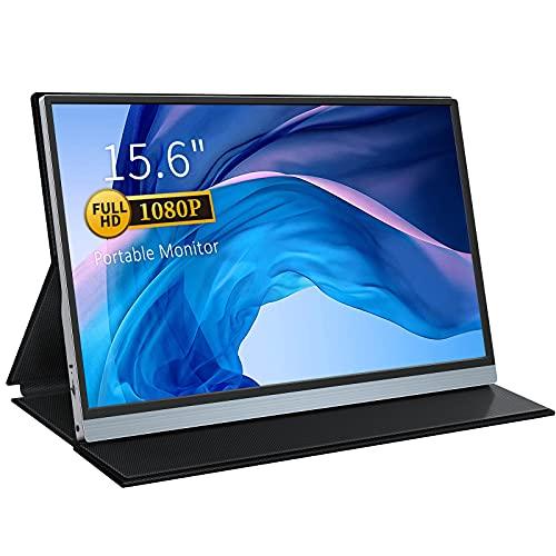 Monitor portátil USB-C, monitor portátil de 15,6 pulgadas, 1920 x 1080 IPS, monitor gaming con puertos HDMI tipo C para PC, móvil, Nintendo, Xbox, PS4, PS3, incluye funda protectora
