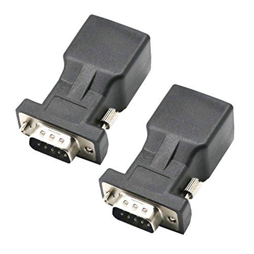 Gazechimp 2 Stü DB9 RS232 Stecker Auf RJ45 Buchse Adapter COM Port Auf LAN Ethernet Port Konverter